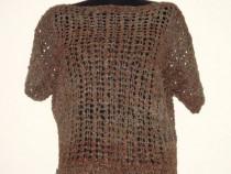 Bluza tricotata manual din piele naturala