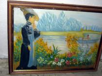 Tablou peisaj tema japoneza-Femeie la tarm barca lac.
