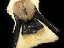 Geci piele naturala +guler vulpe detasabil/accesorii metalic
