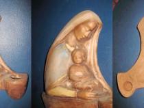 Aplica Fecioara cu Pruncul ceramica cu locas lumanare.