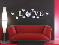 Decoratiune moderna pt perete sticker,oglinda ceas love