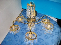 7803-Candelabru 6 brate alama-bronz sticle slefuite.
