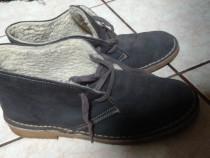 Ghete pantofi inblaniti piele intoarsa