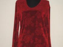 Pulover nou, elastic, rosu grena, cu trandafiri in tesatura