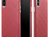 Husa piele naturala iCarer Check iPhone X fara clapeta, rosu