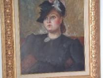 Tablou ulei pe carton portretul unei doamne semnat,samuel m