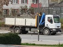 Transport marfa camion cu platforma macara