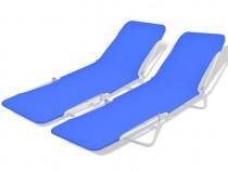 Șezlonguri pliabile, 2 buc, albastru (43079)