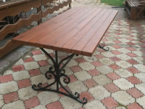 Masa terasă fier forjat si lemn