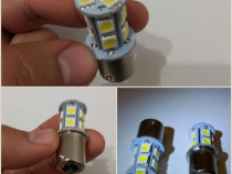 2 x bec led p21w, 18 led, lumina zi, marsarier, alb rece