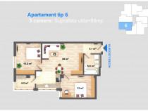 Apartament 3 camere, 68 mp, bucatarie separata, cug