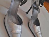 Pantofi dama Stilletto,piele naturala,nr.37,argintii,noi,toc