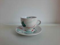 Ceasca cu farfurie protelan alb model cafea / ceai - Noua
