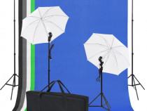 Kit studio foto: 5 fundaluri colorate & 2 umbrele (190206)