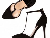 Pantofi cu toc negri piele întoarsă Stradivarius