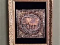 Tablou elefant-cusatura veche cu fir de aur