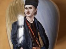 Vaza pictata manual cu portretul lui Tudor Vladimirescu