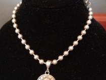 Medalion ARGINT vintage + lant argint + cutie bijuterii