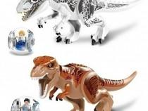 2 Dinozauri uriasi tip Lego de 30 cm cu vehicule giroscopice