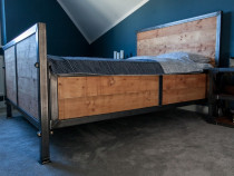 Set pat și noptiere în stil industrial