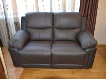 Canapea 2 locuri cu recliner electrice din piele maro