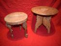 2 Stative ,piedestale , masute din lemn lucrate manual.