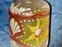 3036-Sticla pictata de lampa veche Art Deco anii 1930.