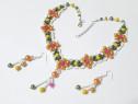 Set floral handmade din margele, 2 piese, unicat, portocaliu