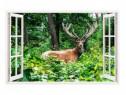 Sticker Decorativ, Fereastra 3D, Cerb, 85 Cm, 308STK