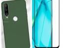 Huawei P40 Lite / E - Husa Silicon Catifea si Folie Sticla
