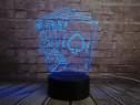 Lampa veioza Poker 3D iluzie laser led texas hold'em roiala
