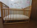 Patut bebe lemn esenta tare cu saltea noua