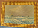 B924-Tablou peisaj marina vechi Furtuna in larg cu vase ulei