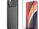 Husa Carbon Neagra + Folie Sticla - Iphone 12 MINI PRO MAX