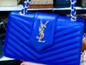 Geantă firmă logo metalic auriu, saculet inclus