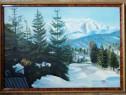 Tablou Peisaj Montan de iarna anii 60 pictura ulei 52x72cm