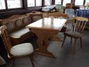Coltar bucatarie lemn masiv cu masa si scaune