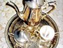 432-Servici Cafea NeoBaroc crom, tava gravata stare F.B.