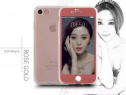 Iphone 7 8 - Husa 360 Silicon Fata Spate Rose, Neagra, Aurie