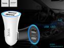 Incarcator auto slim, universal, 2 x USB, indicator led HOCO