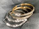 Cercei Rotunzi Gold Stainless Steel + Crystale