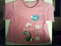 Tricou roz cu flori
