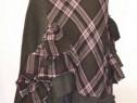 Fusta PatchWork superba lana kaki in volane simple cadrilate
