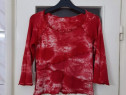 Bluza dama rosie cu model alb marimea S - Noua