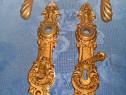 B51-Set Aparatori broasca vechi bronz masiv stare buna.