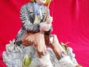 Pescar cu undita și pești figurina statueta portelan România