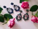 Cercei delicati cu cristale colorate nunta petrecere