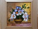 Tablou Natura Statica Vas cu flori alb violet pictura ulei