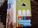 12 creioane colorate +3 pensule