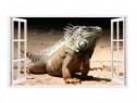 Sticker Decorativ, Fereastra 3D, Chameleon Dragon, 85 Cm, 32